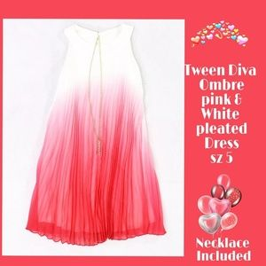 Tween Diva Pleated Ombre dress with boho necklace